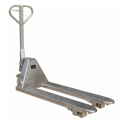 Stainless Steel Pallet Truck by Step and Store