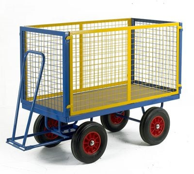 Turntable Trailer 1200 x 600 with High Mesh Cage Supports by Step and Store