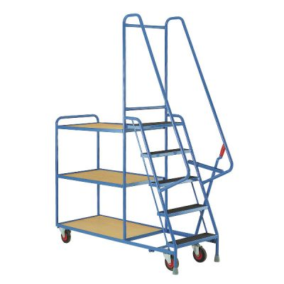 Pick and Pack Heavy Duty 5 Step Tray Trolley