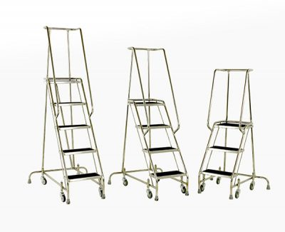 Stainless Steel spring loaded mobile steps from Step and Store