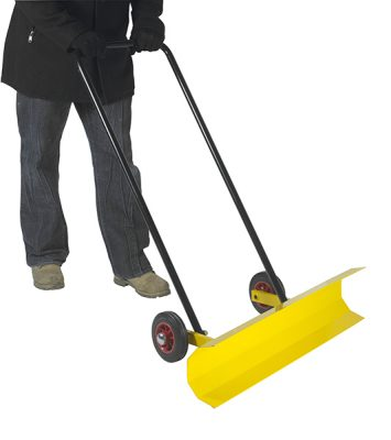 Yellow pedestrian snow plough by Step and Store