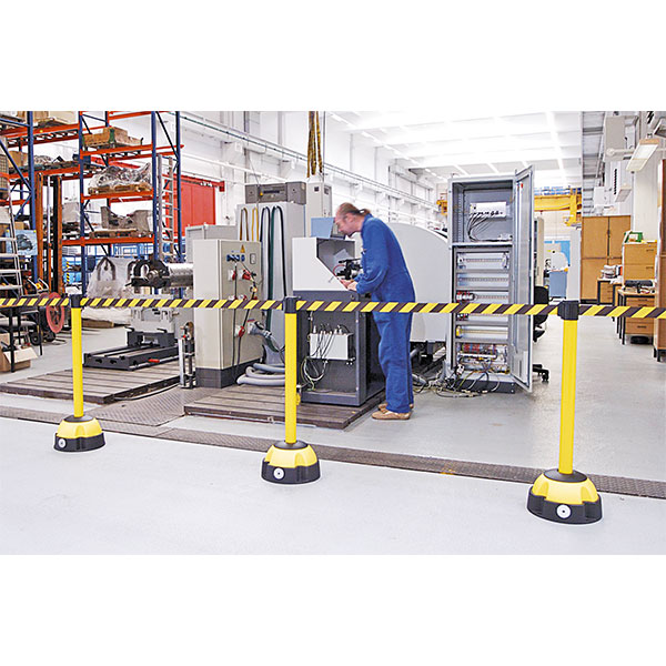 Hi-Vis Belt Barrier Posts by Step and Store