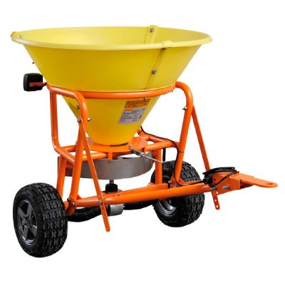 Yellow towable grit spreader with PE hopper 10205-1-600x600