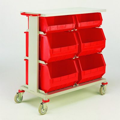 Double 3 Tier Plastic Tote Trolley by Step and Store