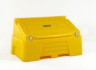 Yellow lockable salt rock grit bin (RW0001)