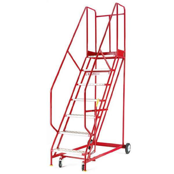 Red 7 tread Warehouse ladders