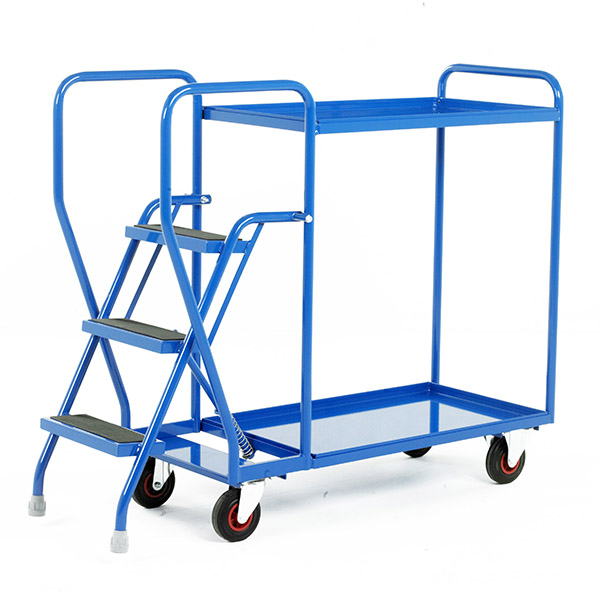 Blue Heavy Duty Step Tray Trolley 3 Step form Step and Store