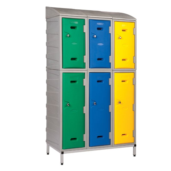 Sloping top for Strong Plastic Lockers by Step and Store